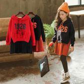 童裝裙子洋氣女童冬季洋裝加絨加厚韓版中大兒童長袖連帽T恤裙秋冬 童趣潮品