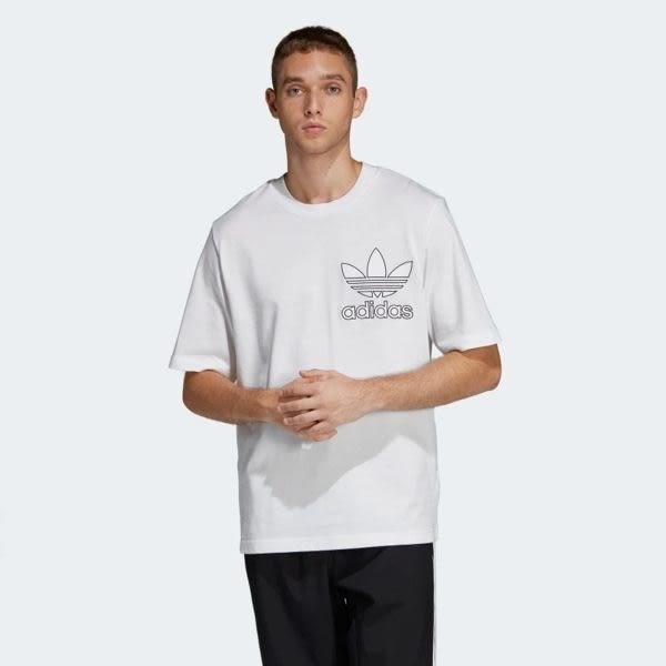 【折後$1180】▶adidas ORIGINALS OUTLINE TEE 男裝 短袖 休閒 慢跑 寬版 舒適 白 DV1562