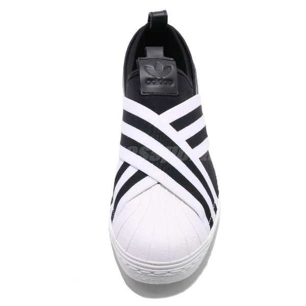 【六折特賣】adidas 繃帶鞋 Superstar Slipon W X 交叉綁帶 黑 白 女鞋 無鞋帶 【PUMP306】 AC8582