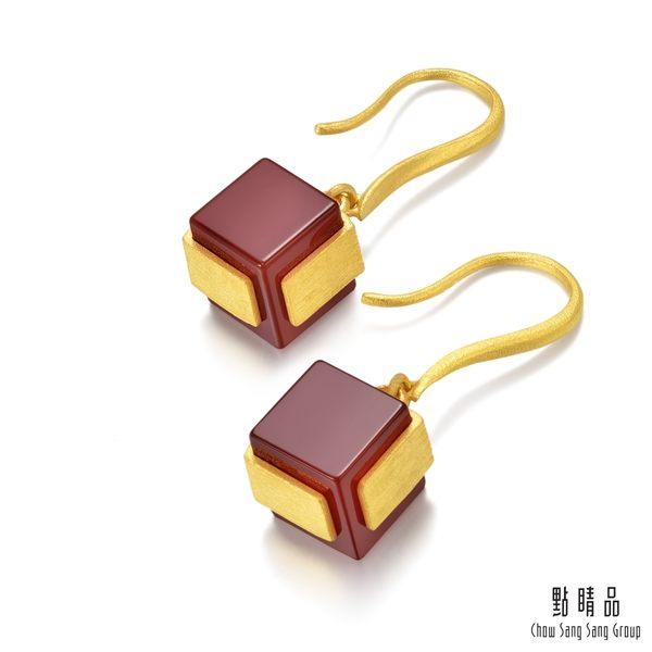 點睛品 g*collection 方形紅瑪瑙黃金耳環