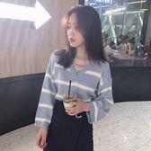 2018秋裝新款韓版套頭長袖針織衫chic秋天上衣寬松慵懶風毛衣女潮【米拉公主】