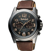 Timberland 雙時區顯示腕錶腕錶-鐵灰x咖啡/46mm TBL.14518JSU/61A