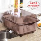 碗櫃廚房帶蓋瀝水籃塑料碗碟架雙層碗盆碗筷...