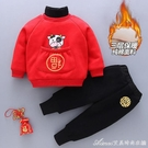 新年男童女童拜年服加絨兒童漢服秋冬款嬰兒童裝加厚寶寶唐裝中國風 快速出貨