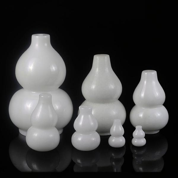 白玉葫蘆 天然漢白玉葫蘆 玉葫蘆風水擺件 福祿吉祥 -特小號-高3.5公分 (七種尺寸可選)