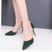 高跟鞋 2018夏季新款高跟鞋尖頭性感一字扣細跟單鞋紅色婚鞋女鞋 Cocoa
