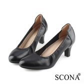 SCONA 蘇格南 全真皮 都會簡約真皮高跟鞋 黑色 22813-1