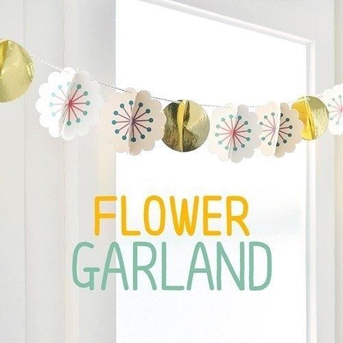 【發現。好貨】韓國繽紛立體花朵節日生日派對裝扮小彩旗拉花FLOWER GARLAND  生日裝飾 派對裝飾