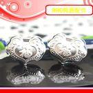 銀鏡DIY S990純銀材料配件~膨膨立體心形如意鎖-福字福氣滿載墜飾(穿式)~適合手作蠶絲蠟線/衝浪繩