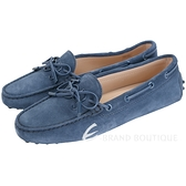 TOD'S Gommino 新版同色字母麂皮休閒豆豆鞋(女鞋/藍色) 1840082-34