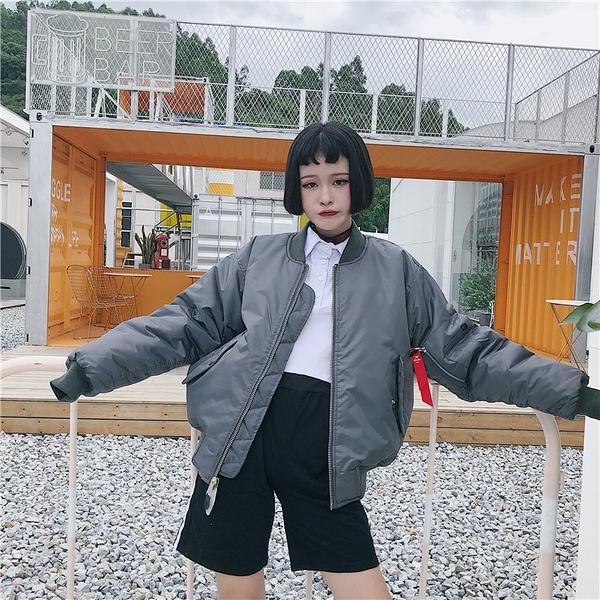 【限時下殺89折】飛行外套 好康推薦春秋款棉服正韓學生寬鬆bf港風棒球服女飛行員夾克