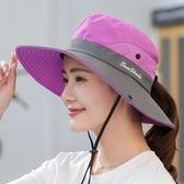 戶外遮陽帽子情侶漁夫帽女可折疊太陽帽夏季防曬帽騎車旅游登山帽【雙11八八折】