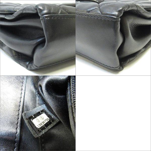 CHANEL 香奈兒 黑色羊皮菱格紋車線鍊條肩背斜背包 Flap Shoulderbag 【BRAND OFF】