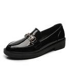 樂福鞋女 平底鞋 春秋英倫單鞋學生加絨一腳蹬平底時尚黑色小皮鞋女韓版女鞋子《小師妹》sm3549