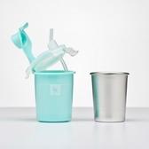 美國 Kangovou小袋鼠不鏽鋼安全兒童兩用杯-薄荷綠