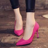 少女高跟鞋子春季2019新款韓版百搭尖頭黑色性感細跟淺口單鞋中跟CY 酷男精品館