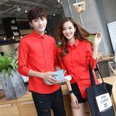 情侶裝 中袖襯衫日韓修身肩章五分袖襯衣男女薄款打底寸衫大紅色 森雅誠品
