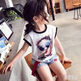 女童上衣 夏季新款時尚上衣短袖T恤兒童寬鬆休閒百搭童裝上衣 aj4080『美好時光』