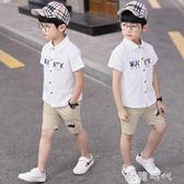 男童短袖襯衫夏裝中大童洋氣上衣韓版男孩純色棉襯衣潮童  ⊱歐韓時代⊰