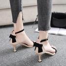 涼鞋女2020夏季新款韓版百搭一字扣細跟貓跟魚嘴蝴蝶結性感高跟鞋