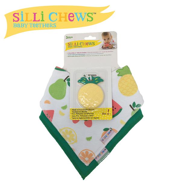 【愛吾兒】美國 SiLLi CHeWS 咬牙器+圍兜2入組 - 熱帶鳳梨/美國設計(SC-65)