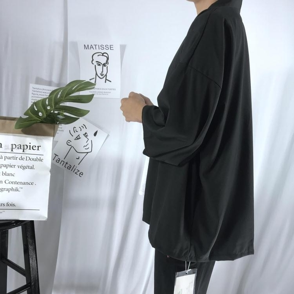 和服外套防曬服男外套中國風七分袖唐裝開衫復古仙氣道袍日繫襯衫羽織和服28日髮 快速出貨