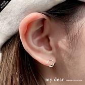 MD韓【A08210003】純銀簍空圓圈耳環銀