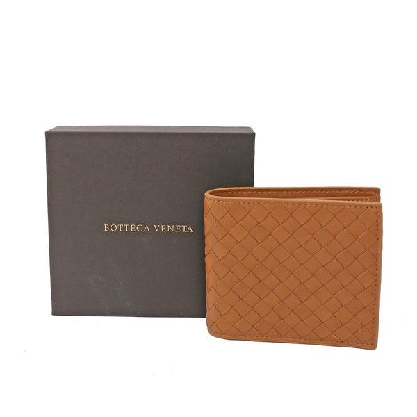 【BOTTEGA VENETA】牛皮編織零錢袋對開短夾(牛奶糖色) 193642 V4651 2614