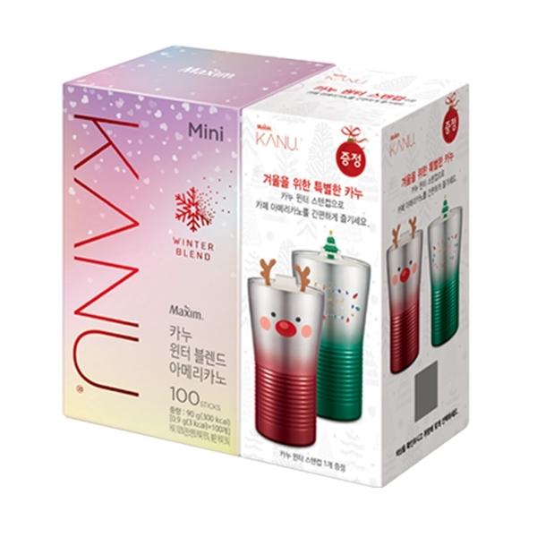 韓國 MAXIM麥心 KANU 繽紛耶誕限定版美式深焙咖啡 附450ml不鏽鋼杯1個 (0.9g×100入/盒) 交換禮物