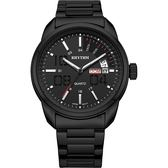 RHYTHM日本麗聲 都會日曆石英手錶-黑/40mm G1307S03