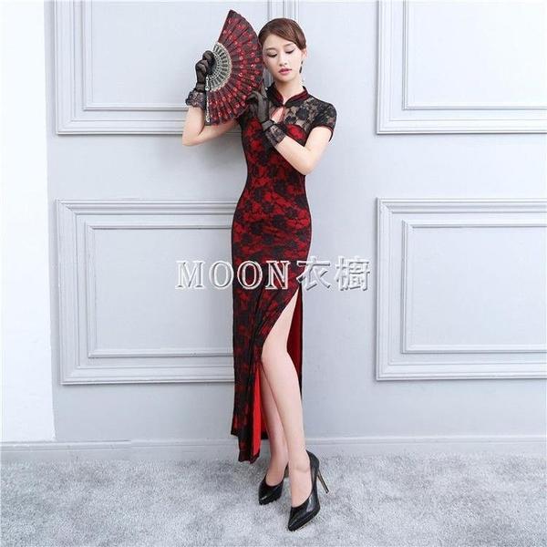 紅色旗袍高開叉性感蕾絲長款修身改良招待舞蹈舞臺裝夜上海演出服 母親節特惠