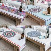 民族風茶幾桌布布藝長方形餐桌電視櫃蓋布巾棉麻茶幾墊