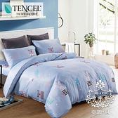 DOKOMO朵可•茉《藍熊兔》法式天絲床包 雙人5尺三件式床包組