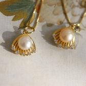 淡水珍珠925純銀貝殼鑲鑽項鍊/設計家