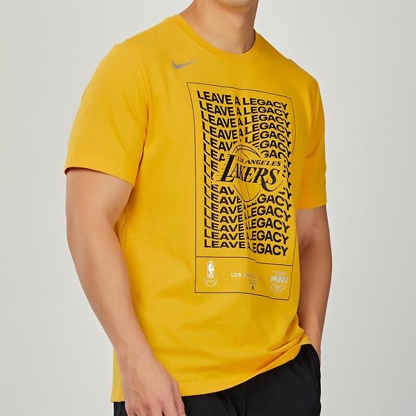 Nike 男 NBA 洛杉磯 湖人隊 黃 籃球 運動 短袖 上衣 DH0637-728