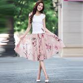 夏季雪紡中長款半身裙中裙A字大擺裙顯瘦