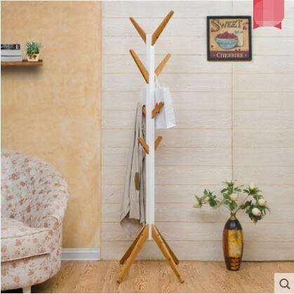 唯妮美樹杈懸掛臥室衣帽架創意家居歐式掛衣架簡易室內衣服架落地(本+白)
