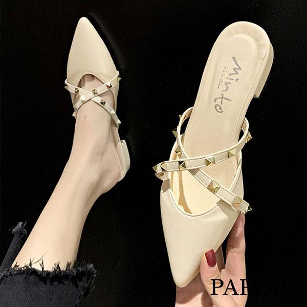 PAPORA鉚釘低跟尖頭懶人穆勒拖鞋包鞋KA9160(偏小)