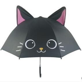 兒童晴雨傘創意卡通傘男女孩輕便長柄傘小黑貓傘 童趣潮品