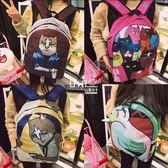 拉面丸子新款學生男女卡通書包背包可愛休閑潮貓咪原宿情侶雙肩包