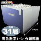 7折 HFPWP 31層風琴夾可展開站立藍色/香檳色 PP環保無毒材質 F43195