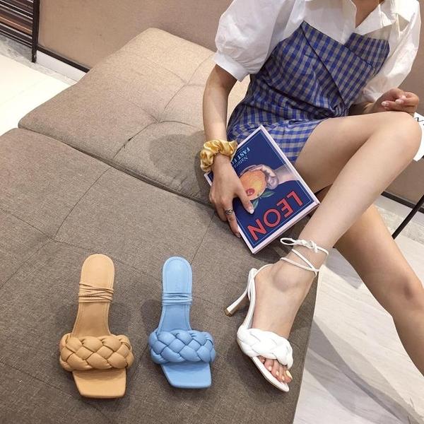 促銷九折 新款高跟方頭露趾涼拖外穿編織風格時尚網紅個性涼鞋女拖鞋潮