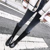 長筒靴女冬季新款百搭中粗跟後拉錬帥氣直筒靴英倫風高筒靴子  一米陽光