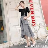 法式復古拼接荷葉邊甜美黑白假兩件不規則洋裝收腰顯瘦 雙十一全館免運