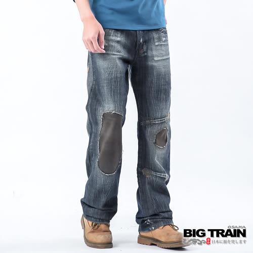 BIG TRAIN 低腰鋸齒繡花貼皮垮褲-男-深黑藍