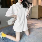運動衫短袖 純棉短袖t恤女年夏季寬松韓版半袖中長款港風設計感上衣ins潮 交換禮物
