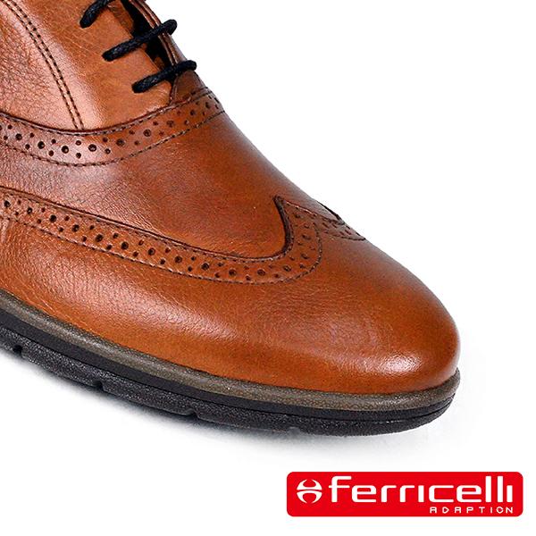 【ferricelli】Koleos男仕翼紋雕花綁帶休閒皮鞋  棕色(F51236-CAS)