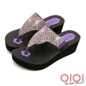 涼拖鞋  MIT璀璨注目夾腳厚底涼拖鞋(紫)*0101shoes【18-836pu】【現貨】