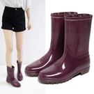高分子材質雨靴 防滑時尚水桶水鞋 水靴防水膠鞋成人中筒女雨鞋‧防水