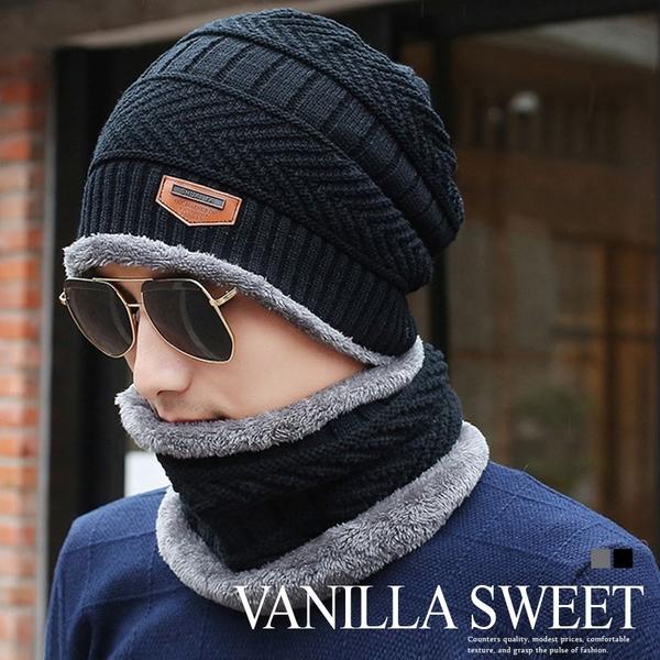 男用冬季韓版加绒毛線帽子脖圍護耳保暖防寒針織帽毛帽【71102】- 香草甜心